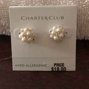Charter Club pearl pierced earrings